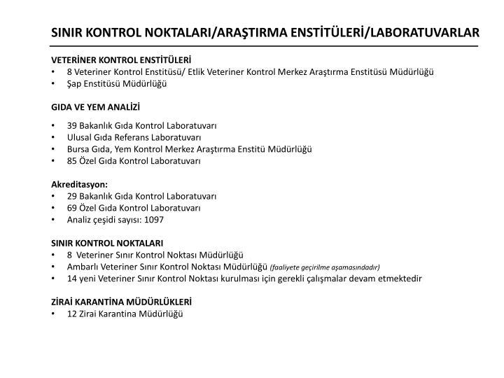 SINIR KONTROL NOKTALARI/ARAŞTIRMA ENSTİTÜLERİ/LABORATUVARLAR