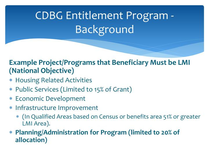 CDBG Entitlement Program - Background