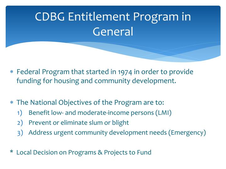 Cdbg entitlement program in general