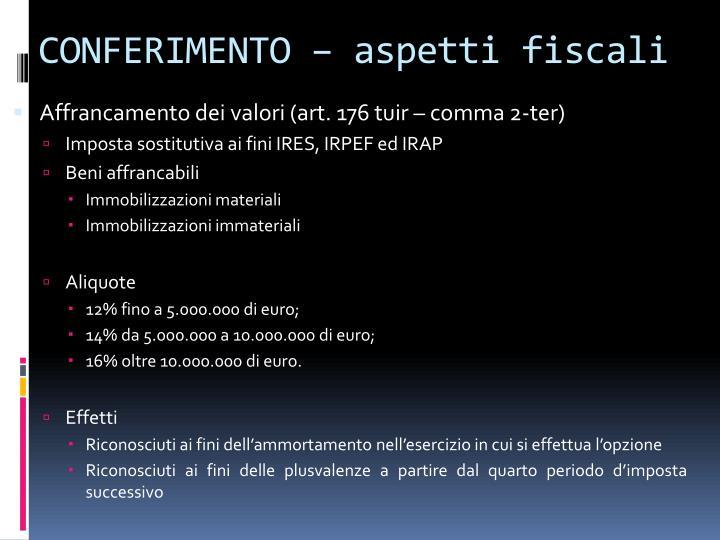 CONFERIMENTO – aspetti fiscali