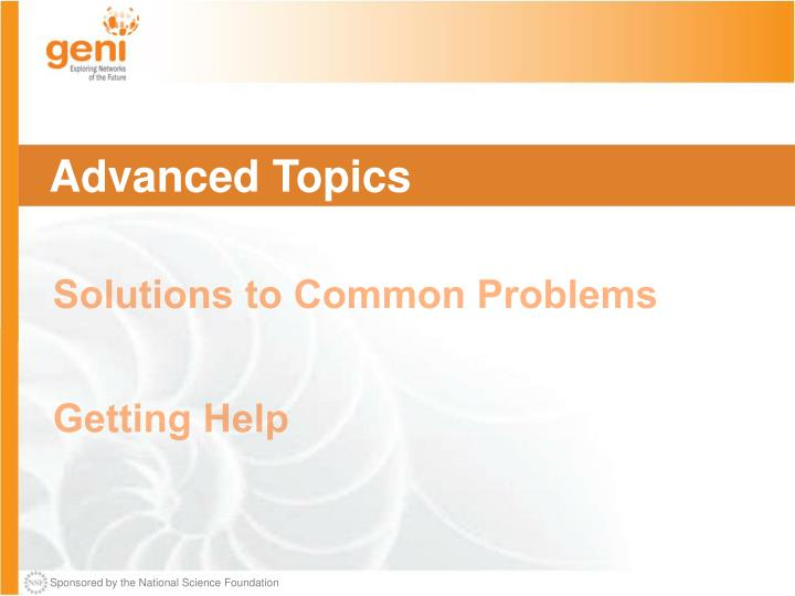 Intermediate topics solutions to common problems getting help