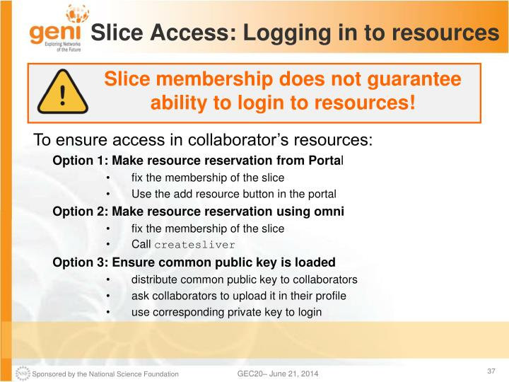 Slice Access: Logging in to resources