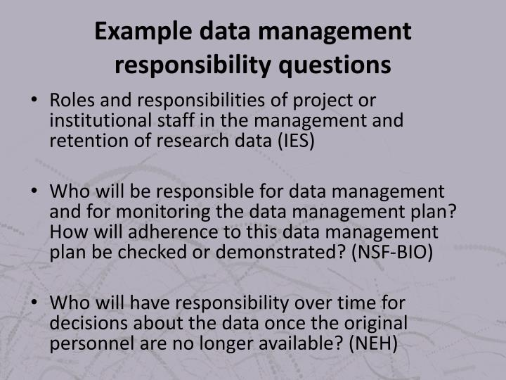 Example data management responsibility questions