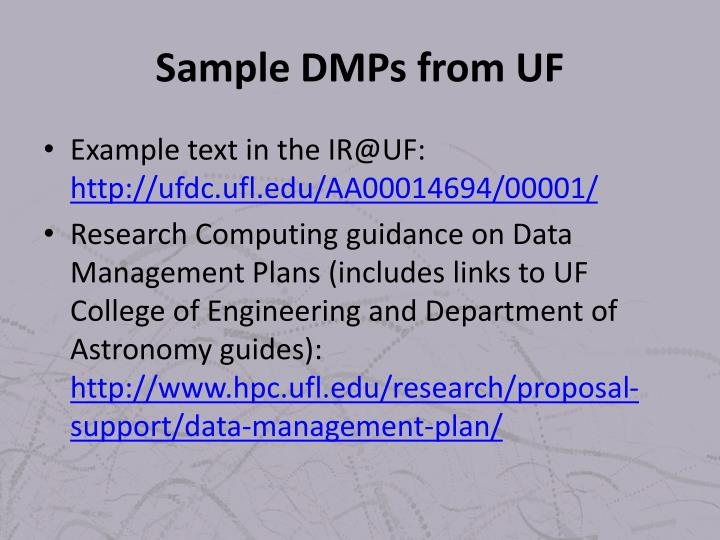 Sample DMPs from UF