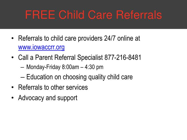 FREE Child Care Referrals
