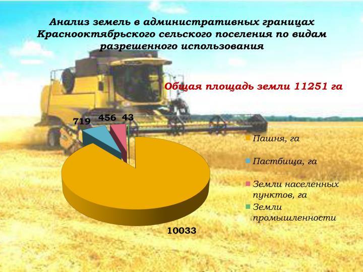 Анализ земель в административных границах Краснооктябрьского сельского поселения по видам разрешенного использования