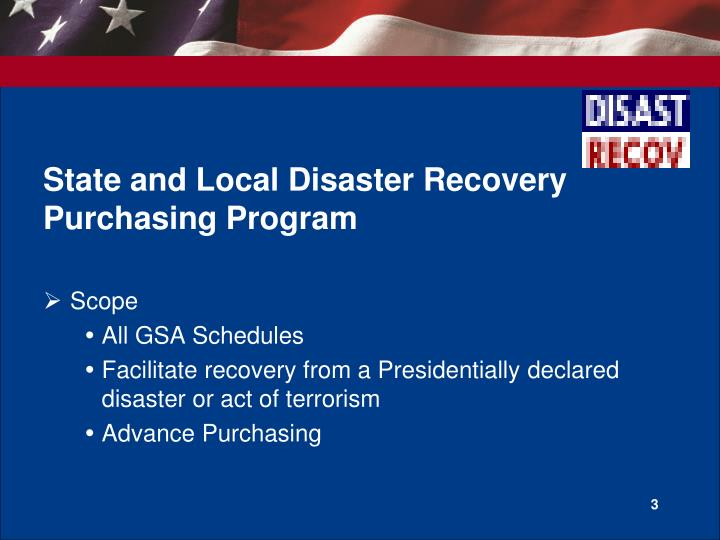 State and local disaster recovery purchasing program