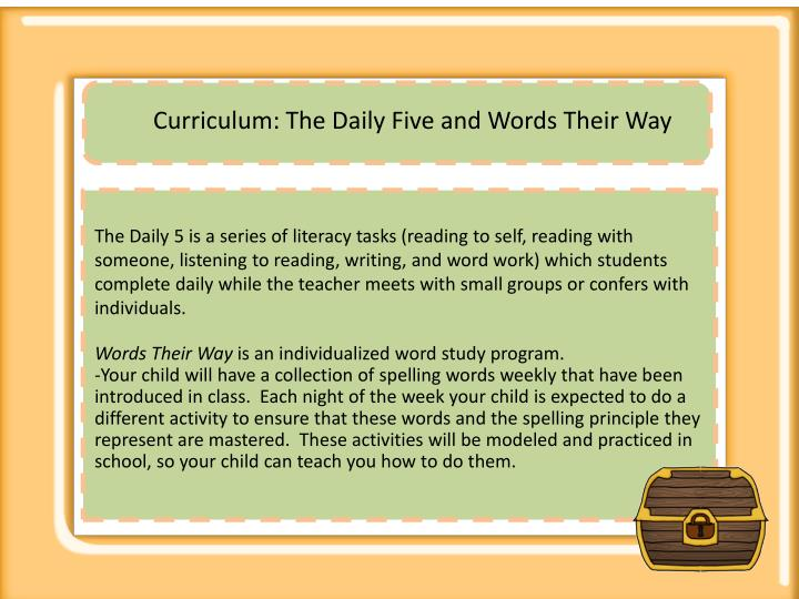 Curriculum: The Daily Five and Words Their Way