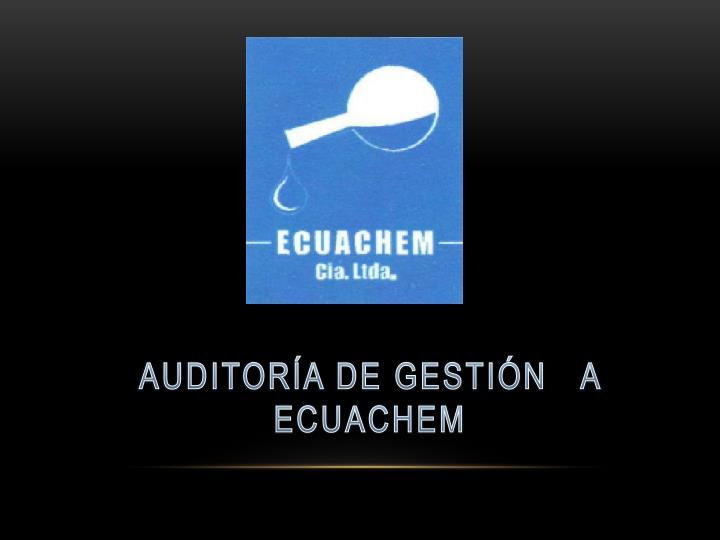 AUDITORÍA DE GESTIÓN   A   ECUACHEM
