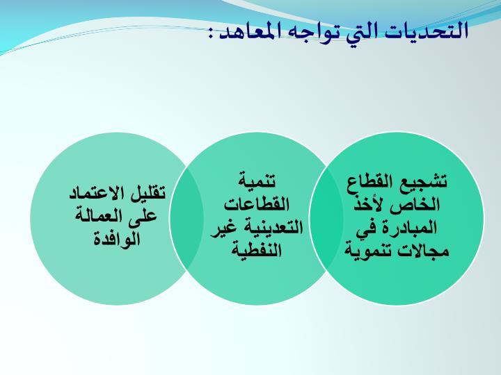 التحديات التي تواجه المعاهد :