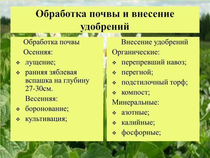 Обработка почвы и внесение удобрений