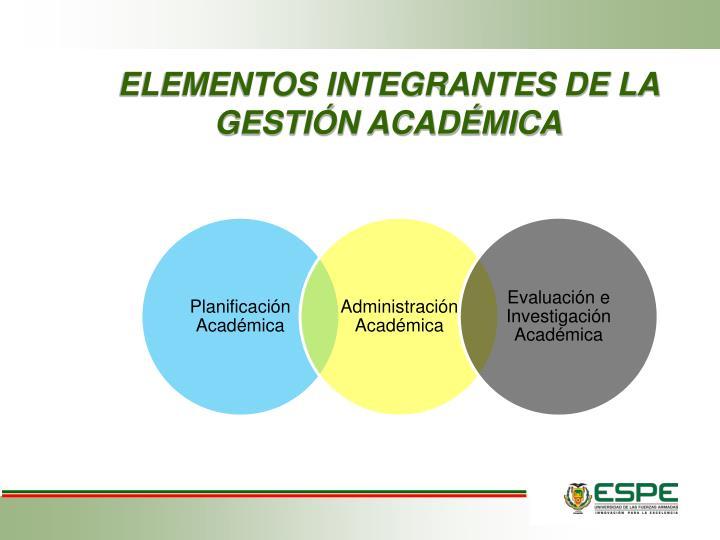 ELEMENTOS INTEGRANTES DE LA GESTIÓN ACADÉMICA