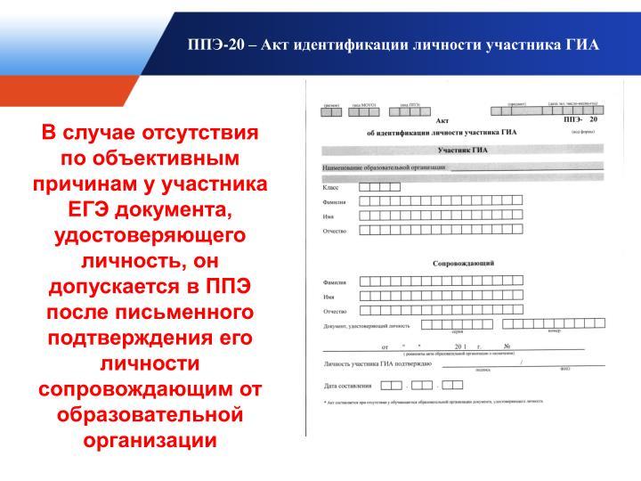 ППЭ-20 – Акт идентификации личности участника ГИА