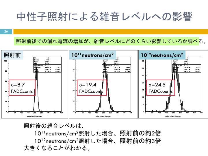 中性子照射による雑音レベルへの影響