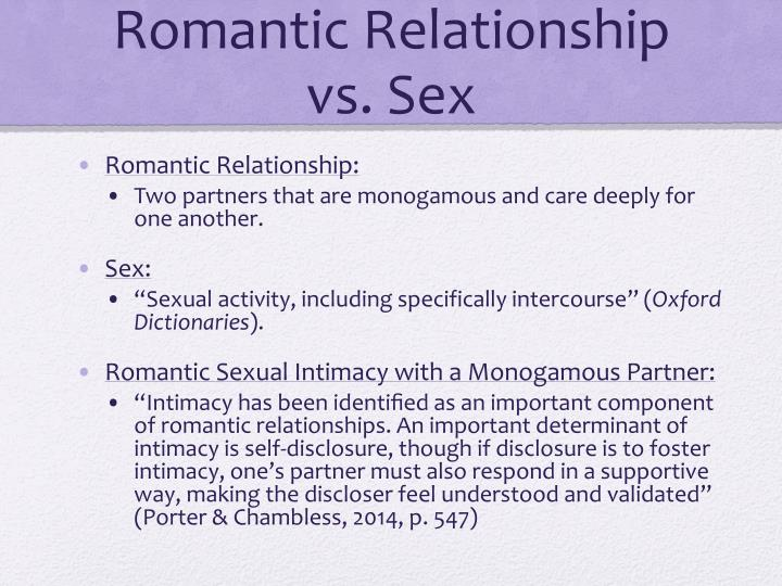 Romantic Relationship vs. Sex