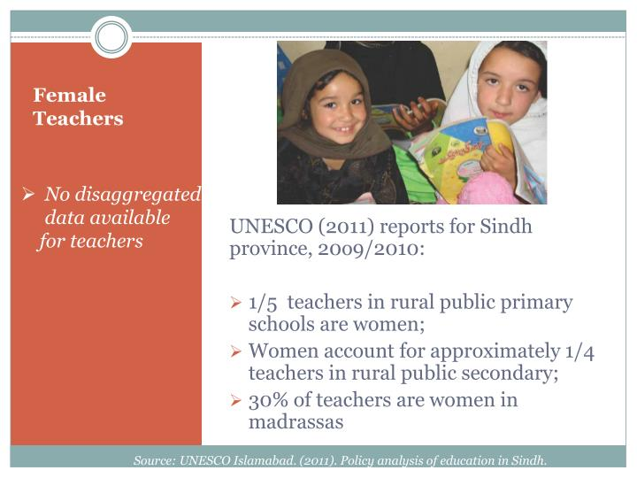 UNESCO (2011) reports for Sindh  province, 20o9/2010: