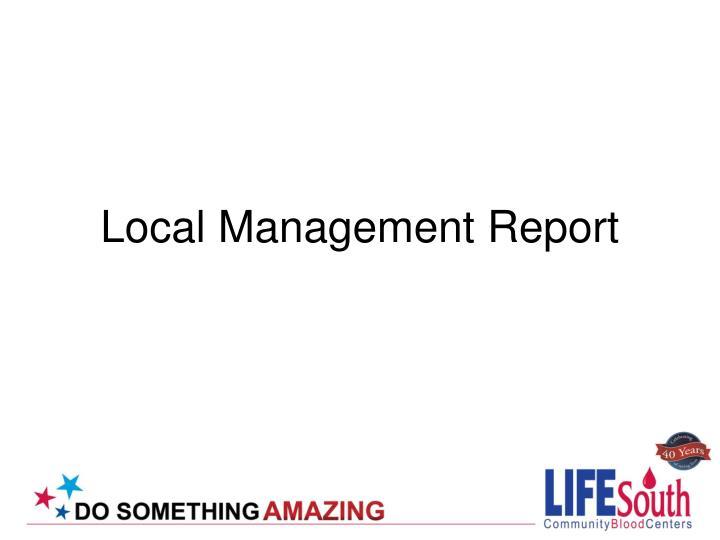 Local Management Report