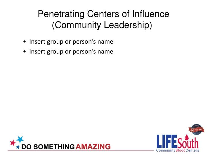 Penetrating Centers of Influence (Community Leadership)