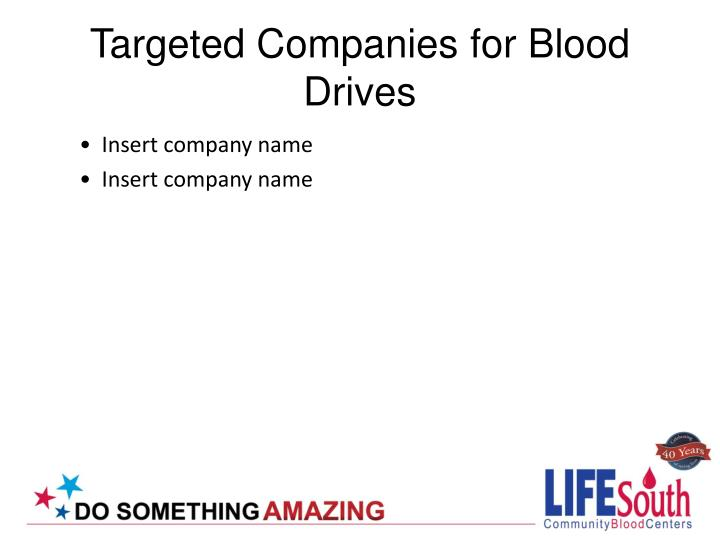 Targeted Companies for Blood Drives