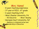 mrs hamel