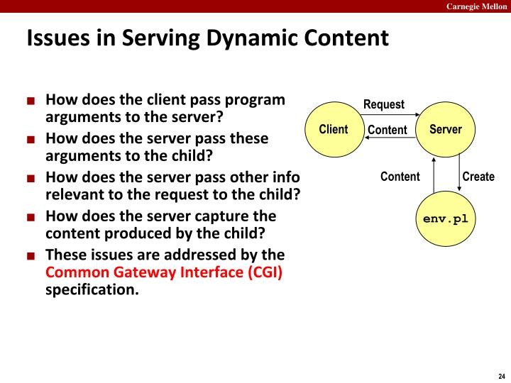 Issues in Serving Dynamic Content