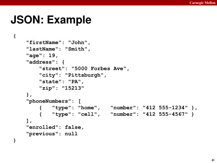 JSON: Example