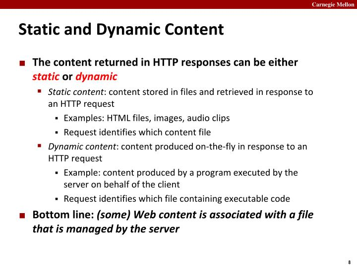 Static and Dynamic Content