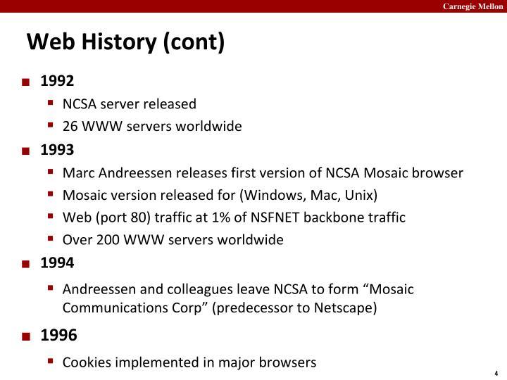 Web History (cont)