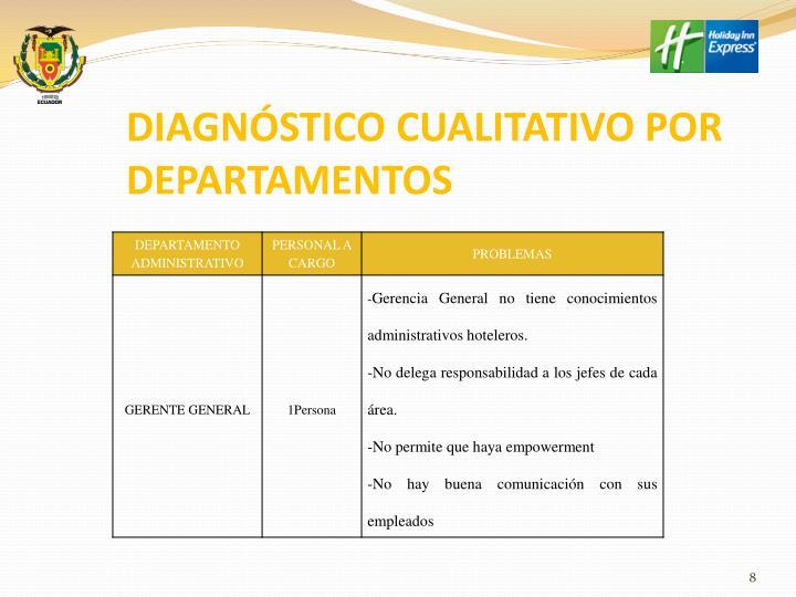 DIAGNÓSTICO CUALITATIVO POR DEPARTAMENTOS