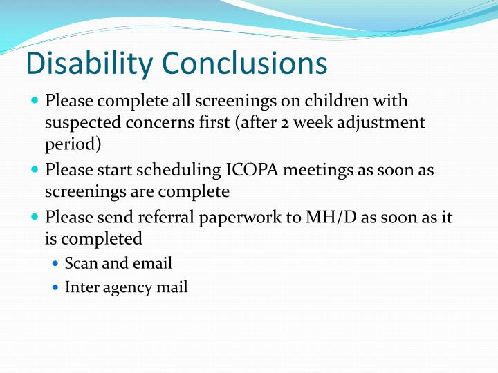 Disability Conclusions
