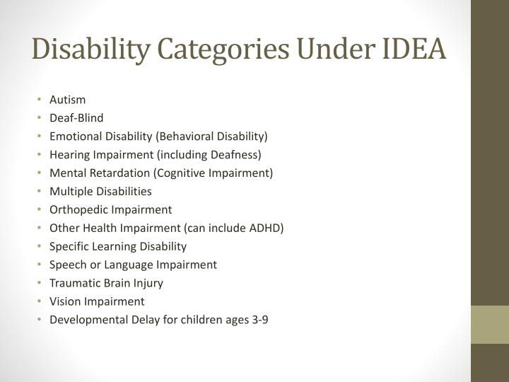 Disability Categories Under IDEA