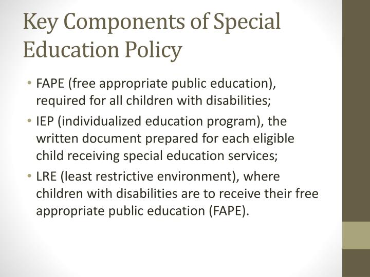 Key Components of Special Education Policy