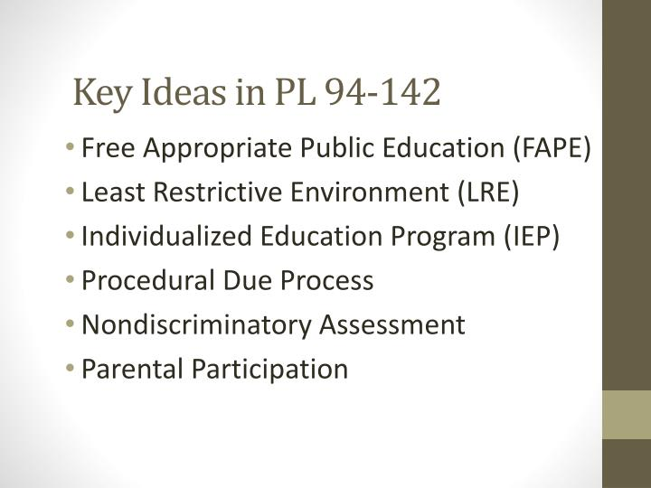 Key Ideas in PL 94-142