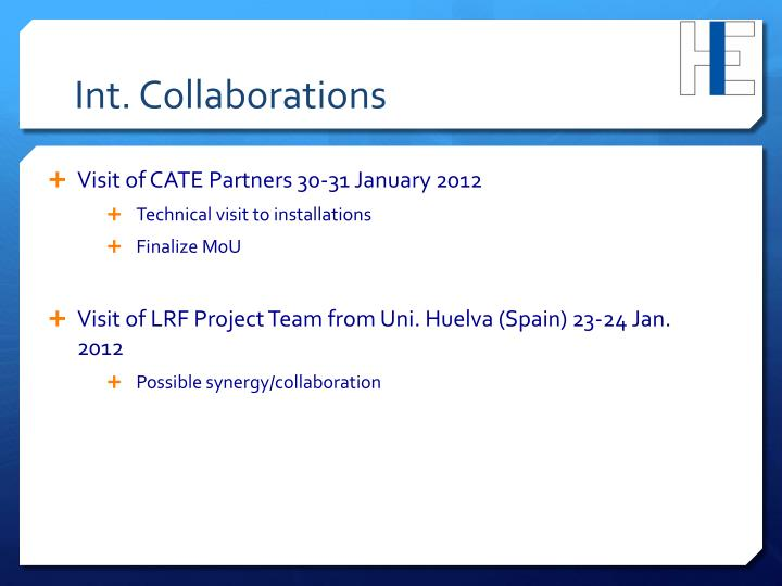 Int. Collaborations