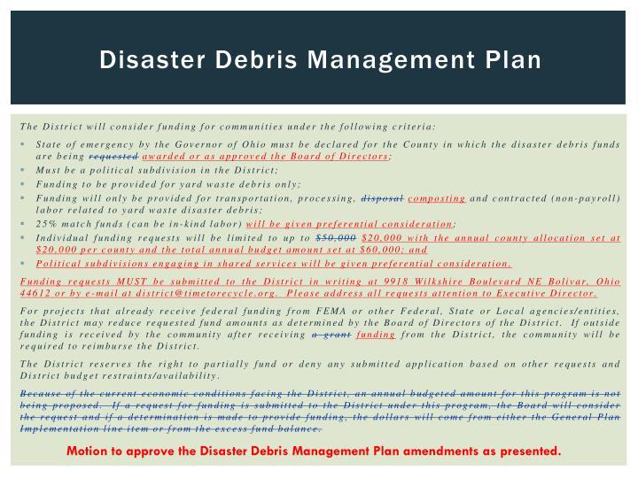 Disaster Debris Management Plan