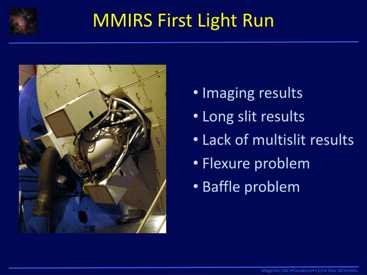 MMIRS First Light Run