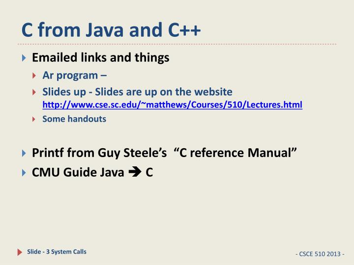 C from Java and C++