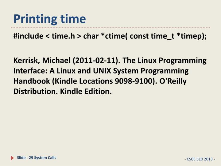 Printing time