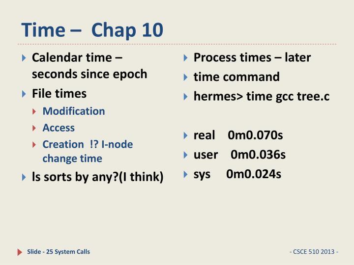 Time –  Chap 10