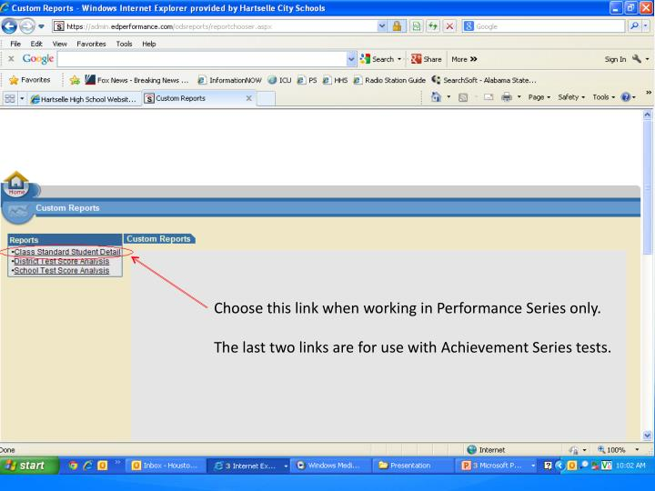 Choose this link when working in Performance Series only.