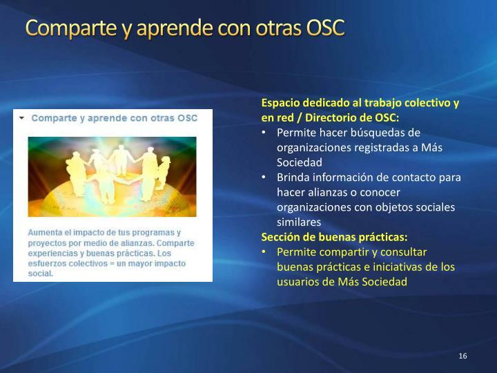 Comparte y aprende con otras OSC