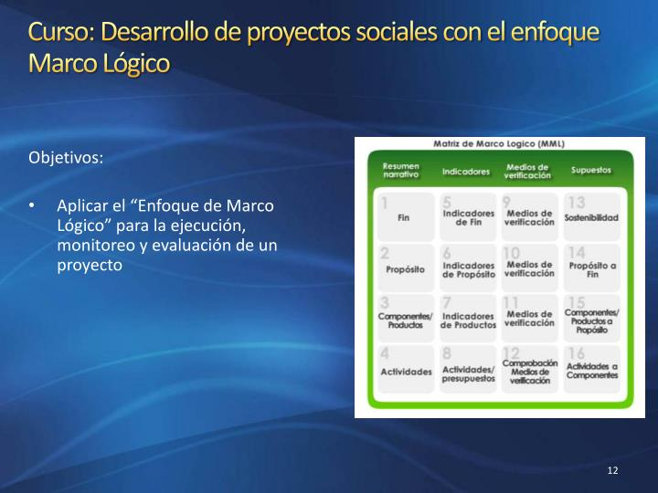 Curso: Desarrollo de proyectos sociales con el enfoque Marco Lógico