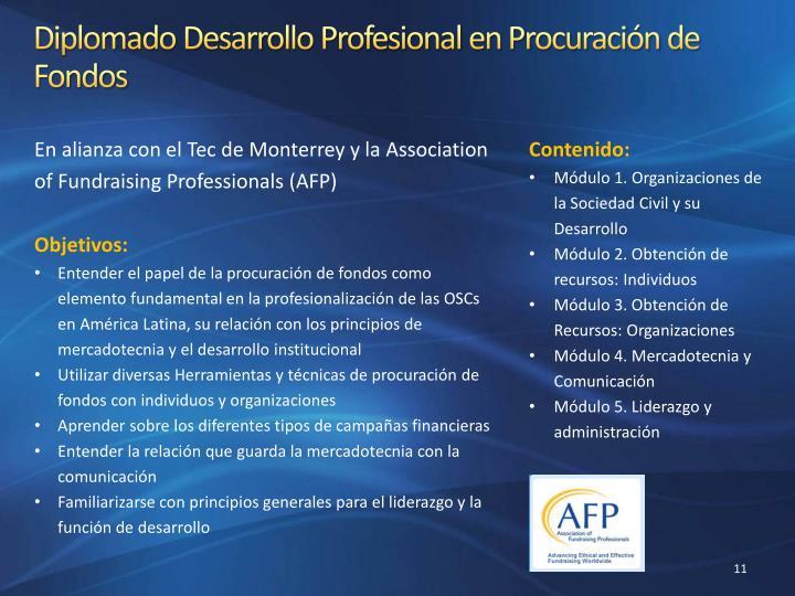 Diplomado Desarrollo Profesional en Procuración de Fondos