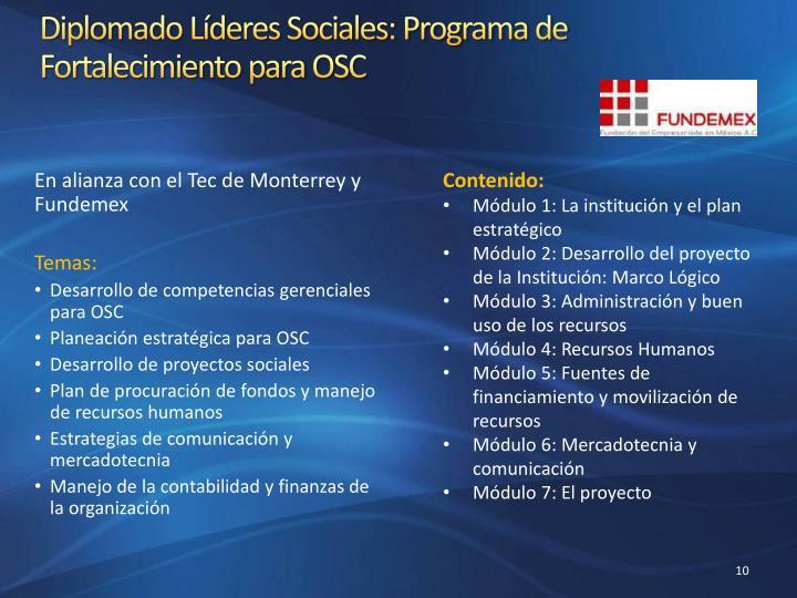 Diplomado Líderes Sociales: Programa de Fortalecimiento para OSC