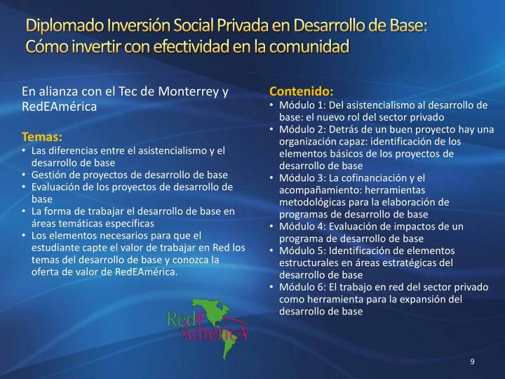 Diplomado Inversión Social Privada en Desarrollo de Base: