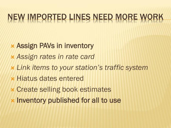 Assign PAVs in inventory