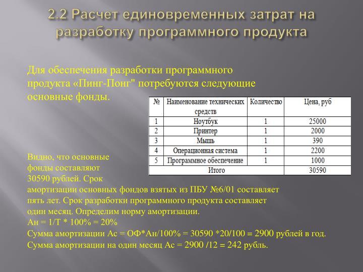 2.2 Расчет единовременных затрат на разработку программного продукта