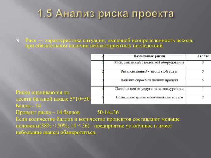 1.5 Анализ риска проекта