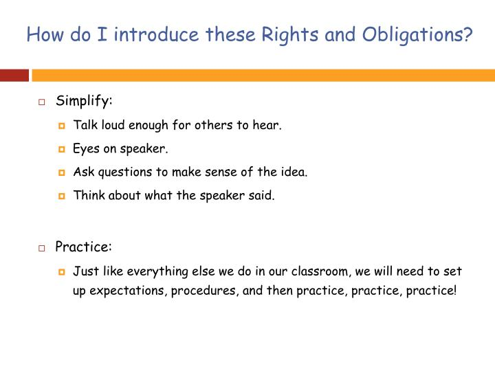 How do I introduce these Rights and Obligations?