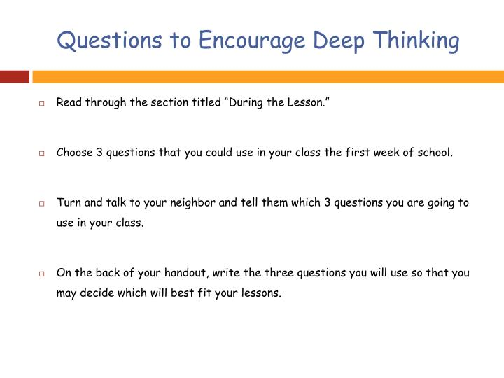 Questions to Encourage Deep Thinking
